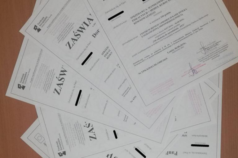 Łomża: Zakończenie kursu zawodowego w projekcie