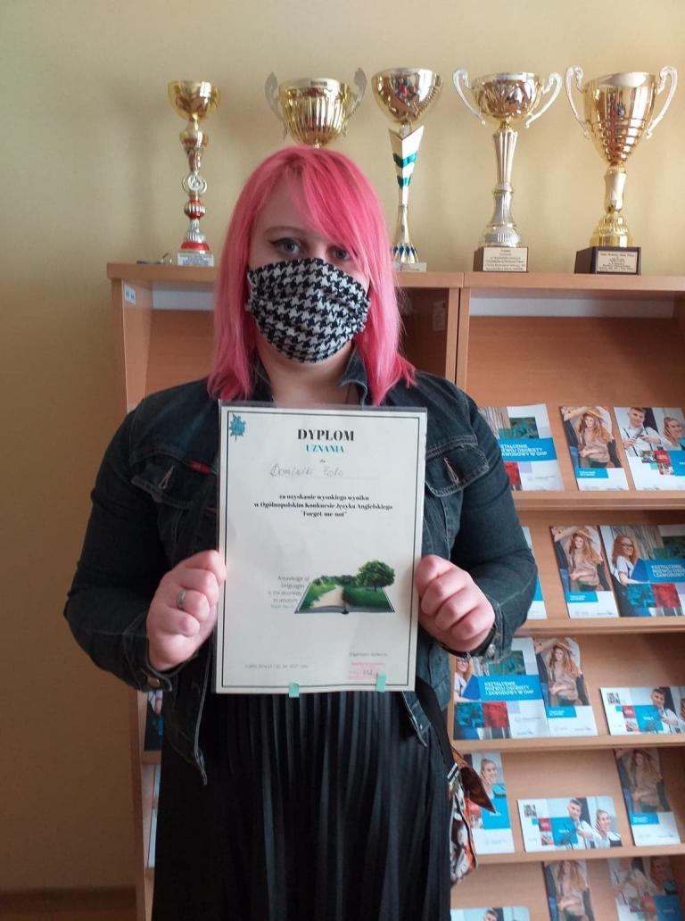 Dyplom uznania za udział w ogólnopolskim konkursie